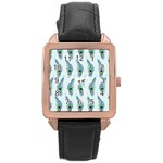 Background Of Beautiful Peacock Feathers Rose Gold Leather Watch