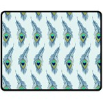 Background Of Beautiful Peacock Feathers Double Sided Fleece Blanket (Medium)