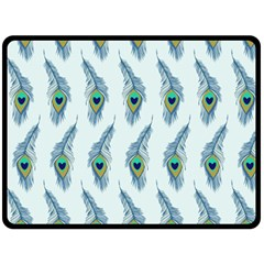 Background Of Beautiful Peacock Feathers Double Sided Fleece Blanket (large)  by Nexatart