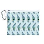 Background Of Beautiful Peacock Feathers Canvas Cosmetic Bag (L)