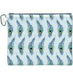 Background Of Beautiful Peacock Feathers Canvas Cosmetic Bag (XXXL)