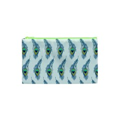 Background Of Beautiful Peacock Feathers Cosmetic Bag (xs) by Nexatart