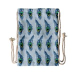 Background Of Beautiful Peacock Feathers Drawstring Bag (Small)