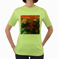 Dark Blue Red And White Messy Background Women s Green T Shirt