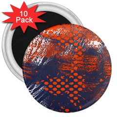 Dark Blue Red And White Messy Background 3  Magnets (10 Pack)
