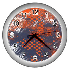Dark Blue Red And White Messy Background Wall Clocks (silver)