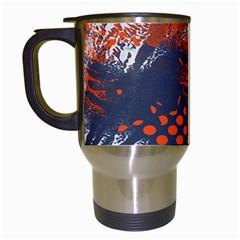 Dark Blue Red And White Messy Background Travel Mugs (white) by Nexatart