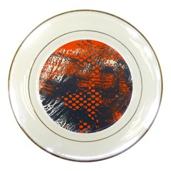 Dark Blue Red And White Messy Background Porcelain Plates by Nexatart