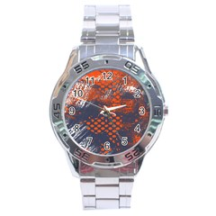 Dark Blue Red And White Messy Background Stainless Steel Analogue Watch