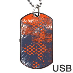 Dark Blue Red And White Messy Background Dog Tag Usb Flash (two Sides) by Nexatart