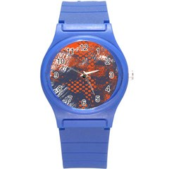 Dark Blue Red And White Messy Background Round Plastic Sport Watch (s) by Nexatart