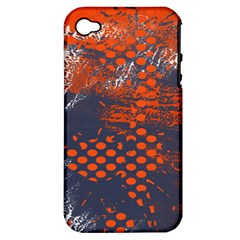 Dark Blue Red And White Messy Background Apple Iphone 4/4s Hardshell Case (pc+silicone)