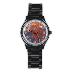 Dark Blue Red And White Messy Background Stainless Steel Round Watch by Nexatart