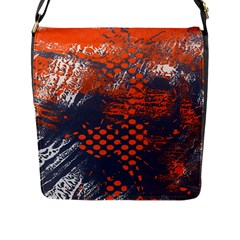 Dark Blue Red And White Messy Background Flap Messenger Bag (l)  by Nexatart