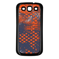 Dark Blue Red And White Messy Background Samsung Galaxy S3 Back Case (black)