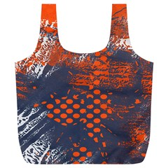 Dark Blue Red And White Messy Background Full Print Recycle Bags (l)