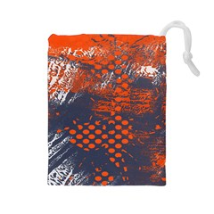 Dark Blue Red And White Messy Background Drawstring Pouches (large)
