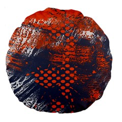 Dark Blue Red And White Messy Background Large 18  Premium Flano Round Cushions