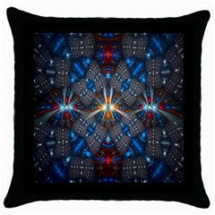 Fancy Fractal Pattern Background Accented With Pretty Colors Throw Pillow Case (black) by Nexatart