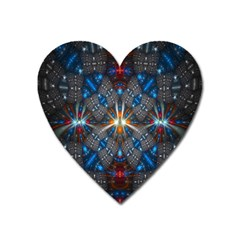 Fancy Fractal Pattern Background Accented With Pretty Colors Heart Magnet by Nexatart