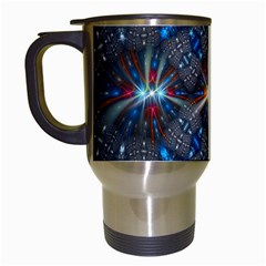 Fancy Fractal Pattern Background Accented With Pretty Colors Travel Mugs (white)