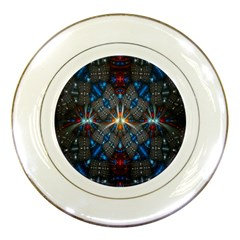 Fancy Fractal Pattern Background Accented With Pretty Colors Porcelain Plates by Nexatart