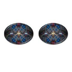 Fancy Fractal Pattern Background Accented With Pretty Colors Cufflinks (oval)
