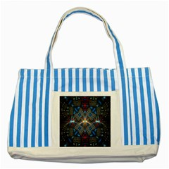 Fancy Fractal Pattern Background Accented With Pretty Colors Striped Blue Tote Bag by Nexatart