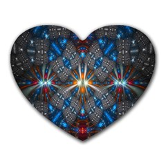 Fancy Fractal Pattern Background Accented With Pretty Colors Heart Mousepads by Nexatart