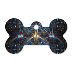 Fancy Fractal Pattern Background Accented With Pretty Colors Dog Tag Bone (two Sides) by Nexatart