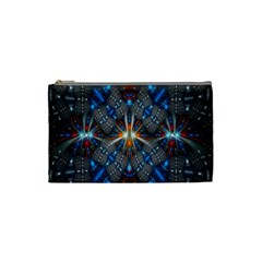Fancy Fractal Pattern Background Accented With Pretty Colors Cosmetic Bag (small)