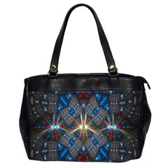 Fancy Fractal Pattern Background Accented With Pretty Colors Office Handbags (2 Sides)  by Nexatart
