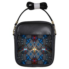 Fancy Fractal Pattern Background Accented With Pretty Colors Girls Sling Bags