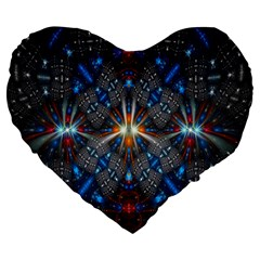 Fancy Fractal Pattern Background Accented With Pretty Colors Large 19  Premium Flano Heart Shape Cushions