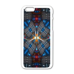 Fancy Fractal Pattern Background Accented With Pretty Colors Apple Iphone 6/6s White Enamel Case by Nexatart