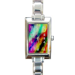 Colorful Abstract Paint Splats Background Rectangle Italian Charm Watch by Nexatart