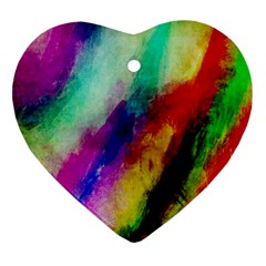 Colorful Abstract Paint Splats Background Ornament (heart) by Nexatart
