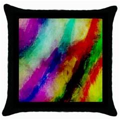 Colorful Abstract Paint Splats Background Throw Pillow Case (black)