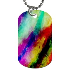 Colorful Abstract Paint Splats Background Dog Tag (two Sides)
