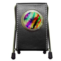Colorful Abstract Paint Splats Background Pen Holder Desk Clocks by Nexatart