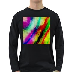 Colorful Abstract Paint Splats Background Long Sleeve Dark T Shirts