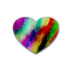 Colorful Abstract Paint Splats Background Heart Coaster (4 Pack)  by Nexatart