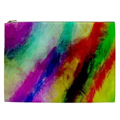 Colorful Abstract Paint Splats Background Cosmetic Bag (xxl)  by Nexatart