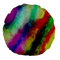 Colorful Abstract Paint Splats Background Large 18  Premium Flano Round Cushions