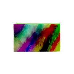Colorful Abstract Paint Splats Background Cosmetic Bag (xs) by Nexatart