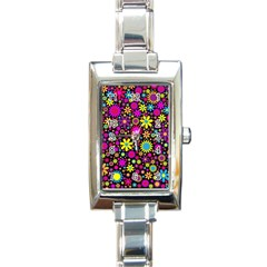Bright And Busy Floral Wallpaper Background Rectangle Italian Charm Watch