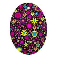 Bright And Busy Floral Wallpaper Background Ornament (oval) by Nexatart