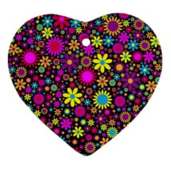 Bright And Busy Floral Wallpaper Background Ornament (heart)