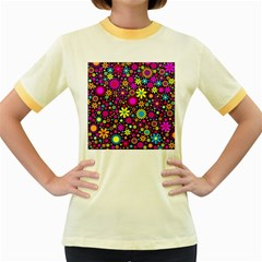 Bright And Busy Floral Wallpaper Background Women s Fitted Ringer T Shirts