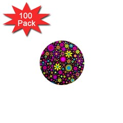 Bright And Busy Floral Wallpaper Background 1  Mini Magnets (100 Pack)  by Nexatart